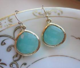 Pacific Aqua Earrings Blue Gold Large Gems - Bridesmaid Earrings Wedding Earrings