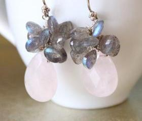 BEAUTE--Incandescent Labradorite Heart Briolettes and Pale Pink Rose Quartz Earrings