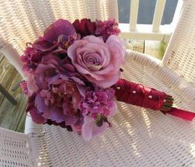 Silk Bridal Bouquet - Lavender and Purple Lilacs, Peonies, Roses and Orchids