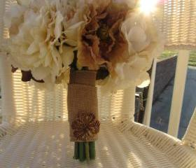 Silk Bridal Bouquet - Ivory, Chocolate and Taupe Roses, Ranunculus, Anemones, and Peonies wrapped in Burlap