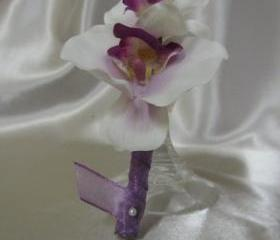 Groomsmen Boutonniere - White Orchid with Purple Center, wrapped in Purple Organza