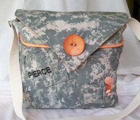 Recycled Army Shirt Diaper Bag &quot;Digital&quot;
