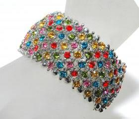 SALE Rainbow Rhinestone Bracelet - Multicolor Bracelet - Gift