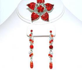SALE Red Flower Ring and Earrings Set - Gift - Teens Jewelry