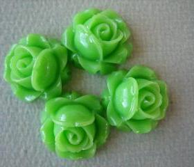 4PCS - Cabbage Rose Flower Cabochons - 15mm - Resin - Apple Green - Findings by ZARDENIA