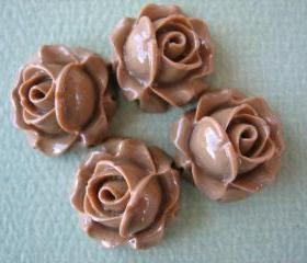4PCS - Cabbage Rose Flower Cabochons - 15mm - Resin - Latte - Findings by ZARDENIA
