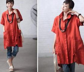 Orange casual linen pocket short-sleeve loose shirt