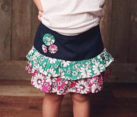 Sewing Pattern Girls Skirt, Pdf Pattern for 2 to 8 Yrs, Ruffled Denim Skirt