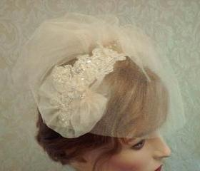 Champagne Birdcage Veil Ad Fascinator Set / Wedding Headpiece With Tulle Birdcage Veil Set