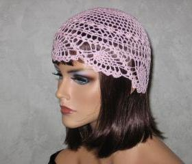 Handmade Crocheted Pineapple Lace Skullie -Pink
