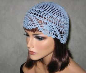 Handmade Crocheted Pineapple Lace Skullie -Delft Blue