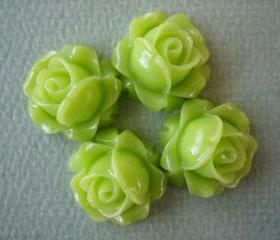 4PCS - Cabbage Rose Flower Cabochons - 15mm - Resin - Neon Green - Findings by ZARDENIA
