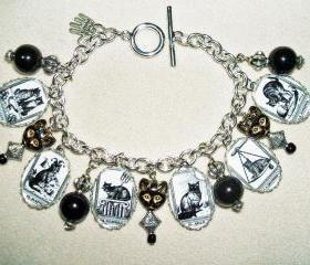 CAT TAROT CARDS Altered Art Charm Bracelet