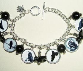 CROW Raven BLACK BIRD Charm Bracelet Altered Art