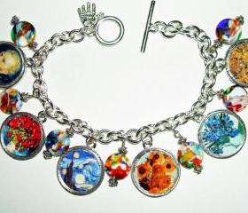 Charm Bracelet VAN GOGH Artist Tribute Altered Art