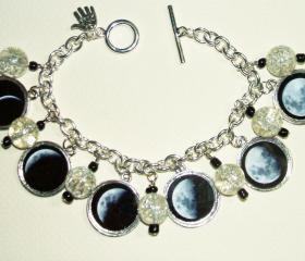 MOON PHASES Charm Bracelet Celestial Lunar Altered ART