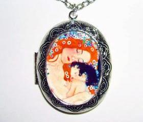 MOTHER and CHILD Locket NECKLACE Pendant Altered Art Photo Holder Klimt
