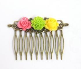 Flower Hair Comb Trio Bright Colors