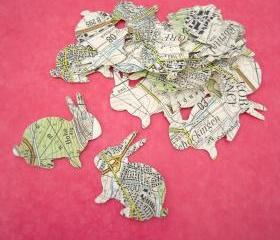20 map bunny label seal stickers ready to use map atlas papers embllishment