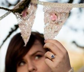 Vintage style Teas stained lace bunting