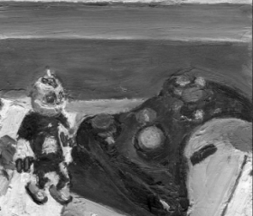 Xbox controller, Clank figurine, Video Game Still Life, Original Black and White Painting, Impressionism