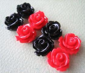 8PCS - Mini Rose Flower Cabochons - 10mm - Resin - Red and Black - Cabochons by ZARDENIA