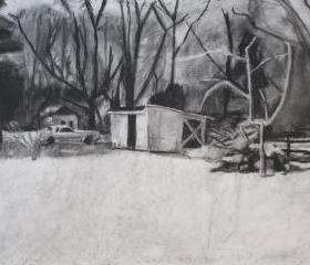 Snow Drawing Art Print Black and White - Winter Shed Landscape Series, Charcoal Medium 