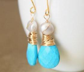 Sleeping Beauty Turquoise Earrings Wirewrapped Gold Fill Wire