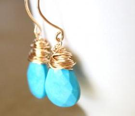 Sleeping Beauty Turquoise Earrings Wirewrapped Gold Fill Wire Handmade Earwires
