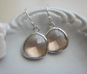 Peach Champagne Earrings Light Pink Silver Plated Sterling Silver Earwires - Bridesmaid Earrings - Wedding Earrings - Bridal Earrings