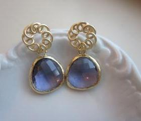 Tanzanite Earrings Purple Matte Gold Circle - Gold Plated Gem - Bridesmaid Earrings - Bridal Earrings
