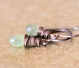 Green Peridot Earrings Antique Patina Sterling Silver Wirewrapped