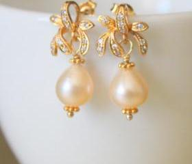 FLEUR--Pink Teardrop Pearls and Gold Vermeil Rhinestone Earrings