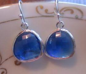 Cobalt Blue Earrings Silver Plated - Sterling Silver Earwires - Bridesmaid Earrings - Wedding Jewelry