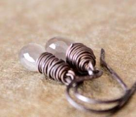 Gray Moonstone Earrings Antique Patina Sterling Silver Wirewrapped