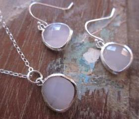 Rose Pink Necklace & Earring SET - Pendants on Sterling Silver Earwires and Chain