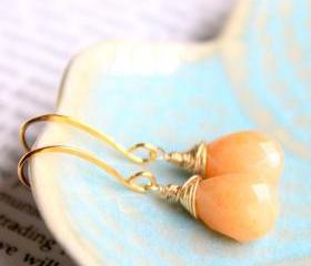SALE--APRICOT--Tangerine Jade Gold Fill Earrings