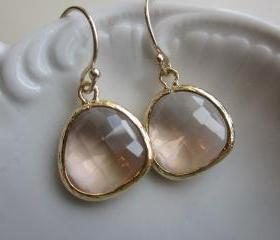 Peach Champagne Earrings Light Pink Gold Plated - Bridesmaid Earrings - Wedding Earrings - Bridal Earrings