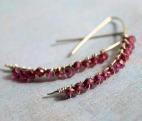 SALE-JEWELED TWIGS--Cherry Quartz Sterling Silver Linear Earrings