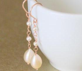 BOUQUET--Pink Teardrop Pearls and Rose Gold Earrings