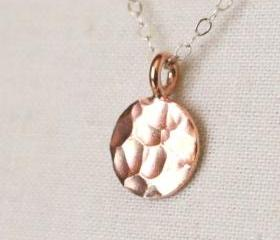 Bali Rose Gold Vermeil Hammered Disc Necklace