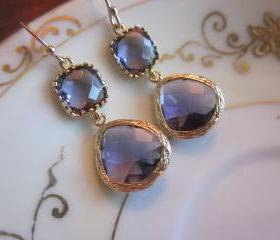 Amethyst Earrings Two Tier Gold Earrings Teardrop Glass - Bridesmaid Earrings Wedding Earrings Bridal Earrings