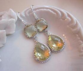 Citrine Earrings Yellow Silver Earrings Teardrop Glass - Sterling Silver Earwires - Bridesmaid Earrings Wedding Earrings