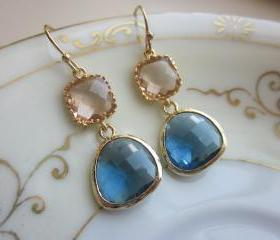 Champagne Peach Earrings Sapphire Navy Gold Plated - Bridesmaid Earrings - Wedding Earrings - Bridal Earrings