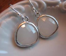 White Opal Earrings Gem Silver Plated Sterling Silver Earwires - Bridesmaid Earrings - Wedding Earrings - Bridal Earrings