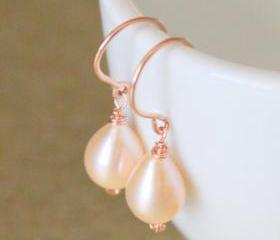 ROSE--Pink Teardrop Pearls and Rose Gold Earrings
