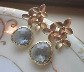 Charcoal Gray Earrings Gold Cherry Blossom - Sterling Silver Posts - Bridesmaid Earrings - Bridal Earrings - Wedding Jewelry