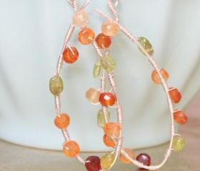 TECHNICOLOR--Carnelian and Peridot Hoop Earrings