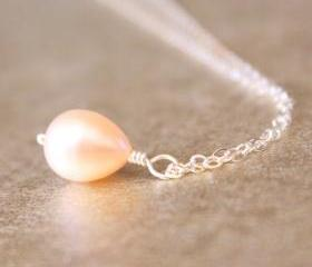 Pink Pearl Necklace Sterling Silver Wirewrapped Freshwater Cultured Bridesmaid Bridal June Birthstone Gift
