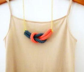 Together, crochet knot necklace. Nautical knot necklace. Cypress green and coral pink cotton yarn